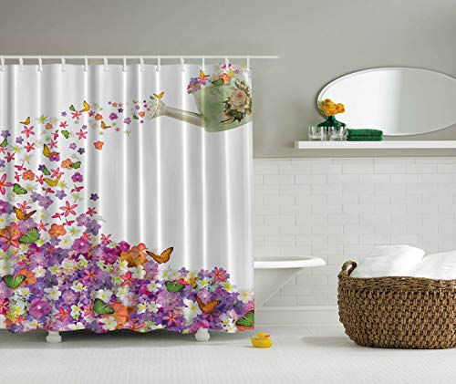 Ambesonne Colorful Flowers Shower Curtain Floral Decor by, Pansy and Rose Butterfly Leaves Blossom Themed Abstract Painting, Orange Violet White Aubergine, Fabric Bathroom Set with Hooks, Green -