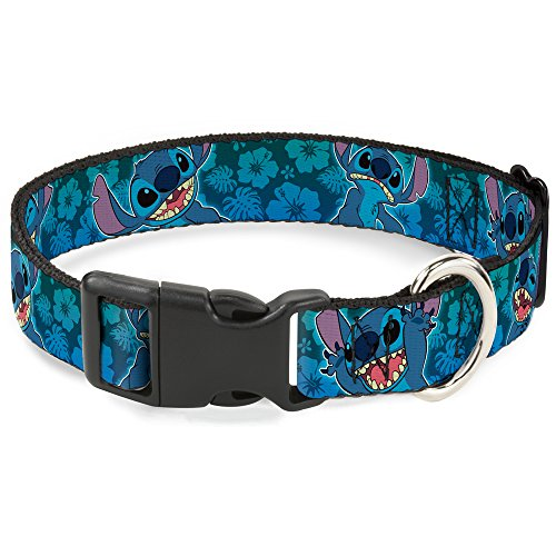 Buckle-Down Plastic Clip Collar - Stitch Expressions/Hibiscus Collage Green-Blue Fade - 1