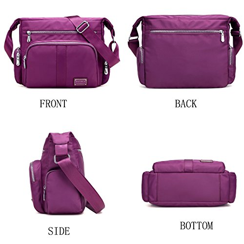 Crossbody Messenger Zipper Shoulder Black Handbag Nylon Multi Waterproof Sornean Bag Pockets Pocket Bag vwgCxIfWEq
