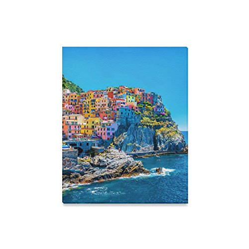 (InterestPrint Colorful European Cityscape Italian Architecture with Mountains and Sea Canvas Prints Wall Art Decor Wood Framed Artwork Paintings for Bedroom Home Office Decor 16