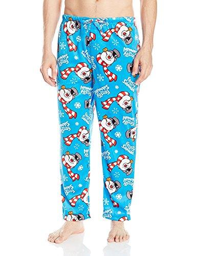 Warner Brothers Men's Frosty The Snowman Fleece Pants, Blue, L