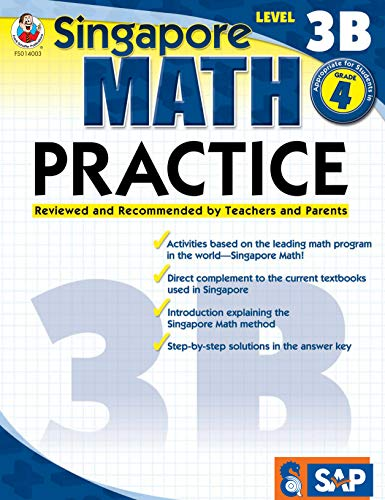 Singapore Math - Level 3B Math Practice Workbook for 4th Grade, Paperback, Ages 9-10 with Answer Key
