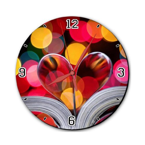 """Book Valentines Day Folded Pages 10"""" Quartz Plastic Wall Round Clock Classic Analog Setting Customized Inch Hand Needle Made to Order Support Ready Dial Time Personalized Gift Battery Operated Accessories Graphic Designed Model HD Template Wallpaper Photo Image"""