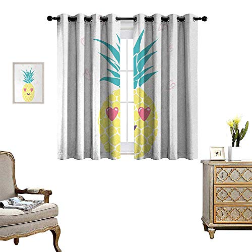 Anyangeight Tropical Blackout Window Curtain Pineapple Design with a Smile and Heart Eyes Tropical Love Themed Fruit Portrait Customized Curtains W55 x L39 Multicolor