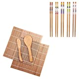 Bamboo Sushi Making Kit with 2 Rolling Mats & 5 Pairs Chopsticks & 1 Rice Paddle & 1 Rice Spreader by Delamu