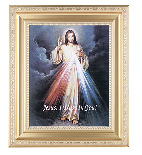 - Divine Mercy Print in a Fine Detailed Scrollwork Satin Gold 11-1/2