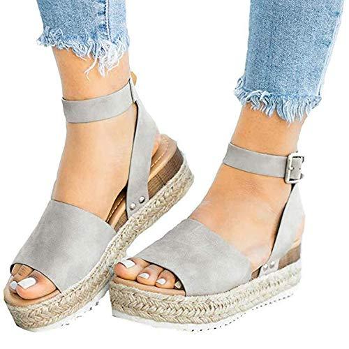 Ru Sweet Womens Wedges Sandal Open Toe Ankle Strap Trendy Espadrille Platform Sandals Flats