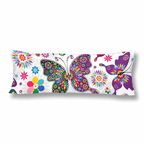 InterestPrint Spring White Floral Butterfly Flower Body Pillow Covers Pillowcase with Zipper 21x60 Twin Sides, Colorful Rectangle Body Pillow Case Protector for Home Couch Sofa Bedding Decorative
