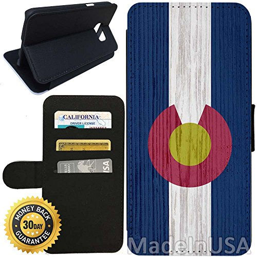 Flip Wallet Case for Galaxy S7 (Colorado State Flag on Wood) with Adjustable Stand and 3 Card Holders | Shock Protection | Lightweight | Includes Stylus Pen by - Colorado Australia Stores