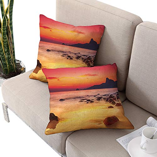 - Brandosn Ocean Square Square Euro Sham Cushion Cover,Digital Photo of Mystical Sunrise Over The Sea with Stones and Cliffs Idyllic Spot Orange Yellow Cushion Cases Pillowcases for Sofa Bedroom Car
