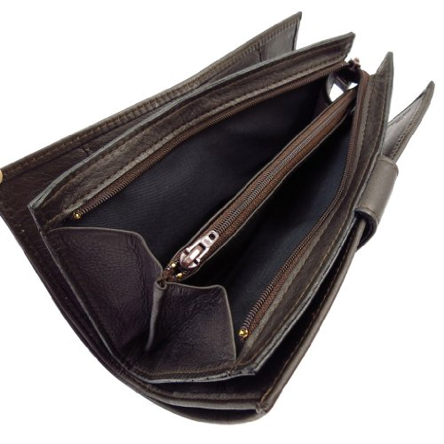 Wallet + checkbook holder leather 'Frandi' dark brown. by Frandi