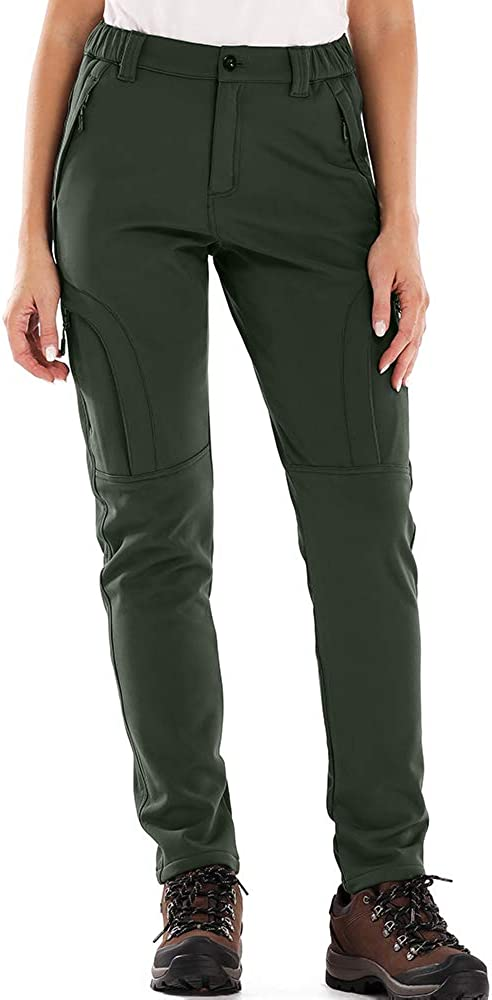 H4409 Army Green, 30 Jessie Kidden Womens Outdoor Fleece Lined Soft Shell Hiking Fishing Ski Snow Pants Insulated Water Wind Resistant