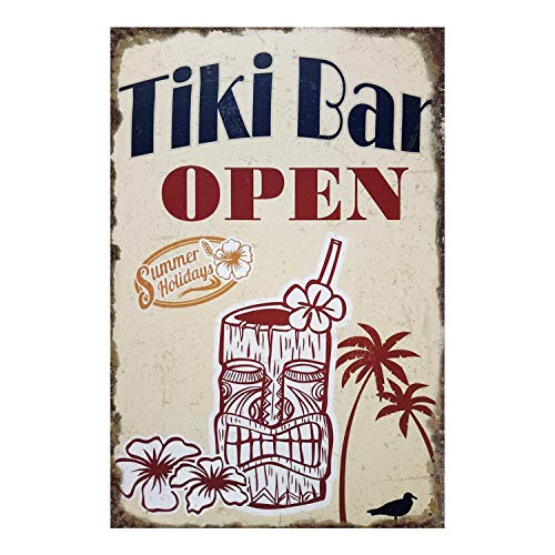 Joyingle Vintage Tin Signs Tiki Bar Open Summer Holidays Metal Tin Sign Poster Home Plaque Poster Wall Art Pub Bar Decor 12 X 8inch ()