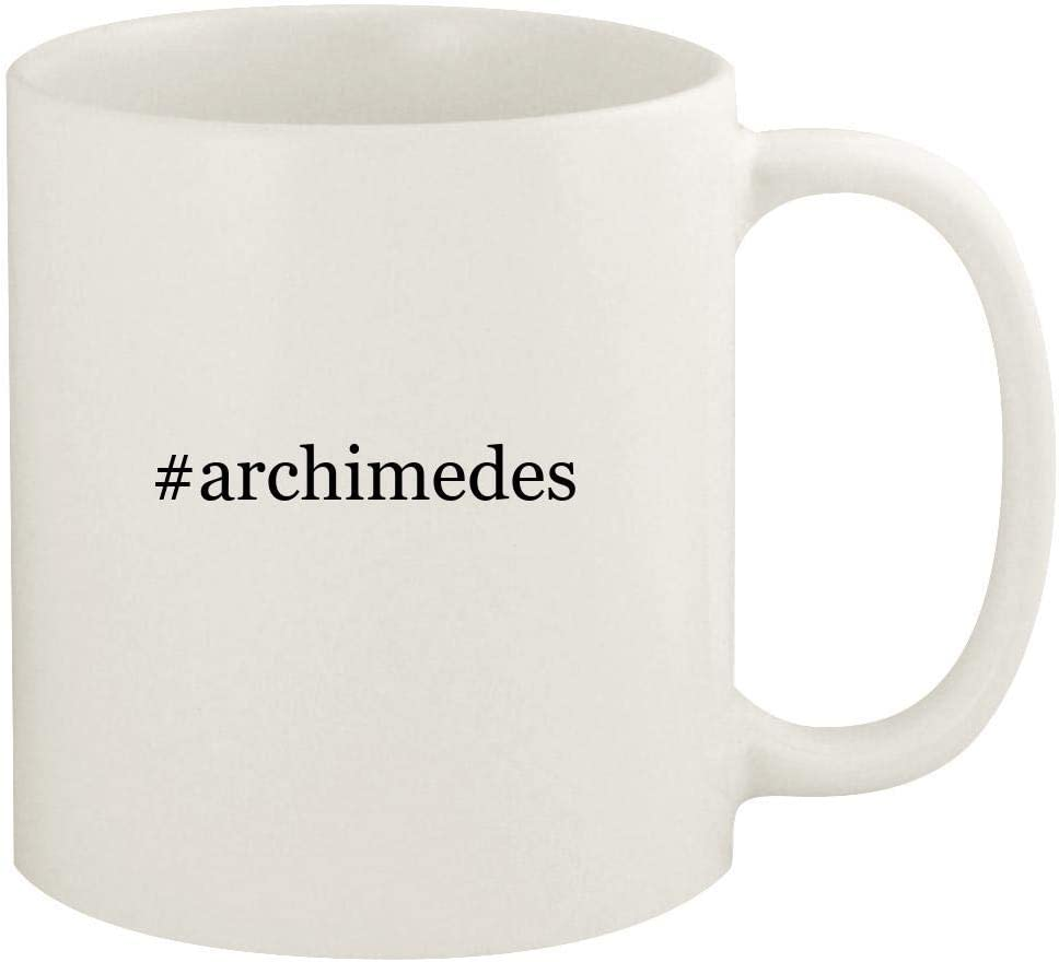 #archimedes - 11oz Hashtag Ceramic White Coffee Mug Cup, White