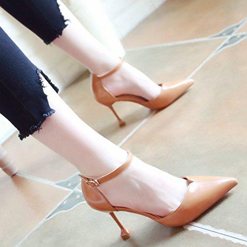 Xue Qiqi Pumps Sandalen Schuhe Geschlitzten Lasche Hohlen Feine Frauen Schuhe mit Hohen Absätzen Tipp Licht - Einzelne Schuhe Frauen