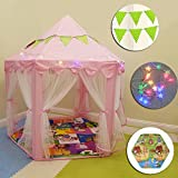 Image of (Contains mat, lights, flags) Kids Play Tent Children Playhouse Princess Castle Big Indoor and outdoor, Best Gift for Girls- Pink