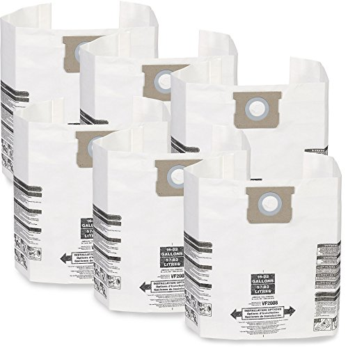 Multi-Fit Wet Dry Vacuum Bags VF2008TP General Dust Filter Bag (2 Pack, 6 Shop Vacuum Bags), Bag Filter For Most 15 gallon To 22 gallon Shop-Vac, Genie Shop Vacuum Cleaners ()