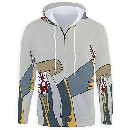 Unisex,Kabuki Mask Decoration Zip up Hoodie All Over Print Jacket Sweatshirt