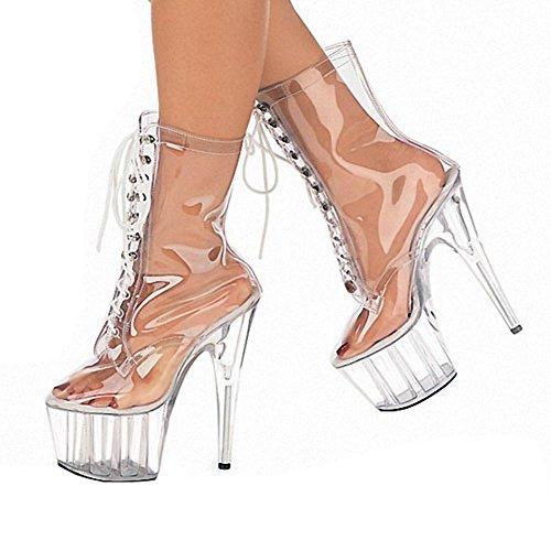 wdjjjnnnv Las mujeres corto botas transparente cristal de cordones Piel impermeable Super tacones altos discoteca baile zapatos de rendimiento, TRANSPARENT-43 TRANSPARENT-36