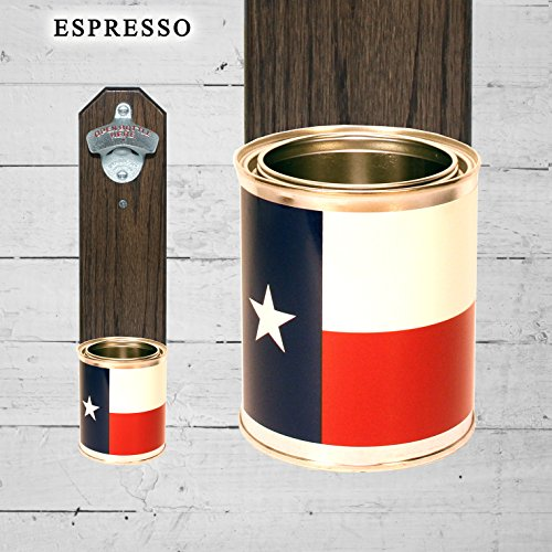 Wall Mounted Bottle Opener with Texas State Flag Tin Can Cap ()