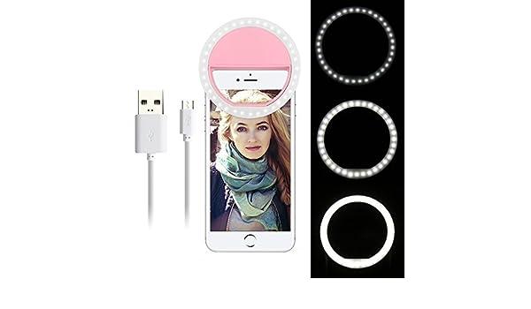 OurLeeme recargable de 36 LED de luz Smartphone selfie Anillo ajustable Clip 3 Nivel de brillo en el iPhone 7 6 m/Ã/¡s 6s 5s Samsung Sony LG HTC Blanca