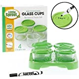 Glass Baby Food Jars (4 - 2oz) - Microwavable, Freezer and Dishwasher Safe with Tray and Recordable Marker
