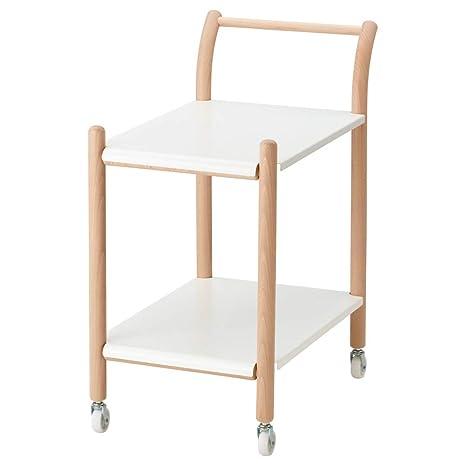 IKEA PS 2017 - Mesa Auxiliar con Ruedas (Madera de Haya, Color Blanco)
