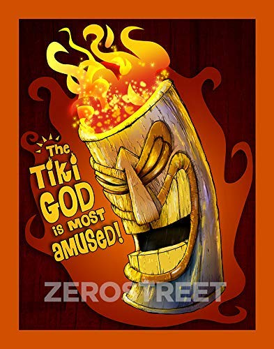 Tiki God Man Cave Humor Tiki Bar Mask Lowbrow Kustom Pop Art Home Decor Print