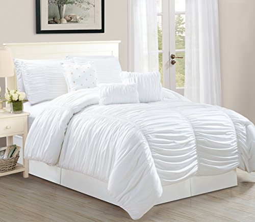 WPM 7 Piece Royal WHITE Ruched comforter set Elegant bed in a bag Luxurious Bedding (Queen)