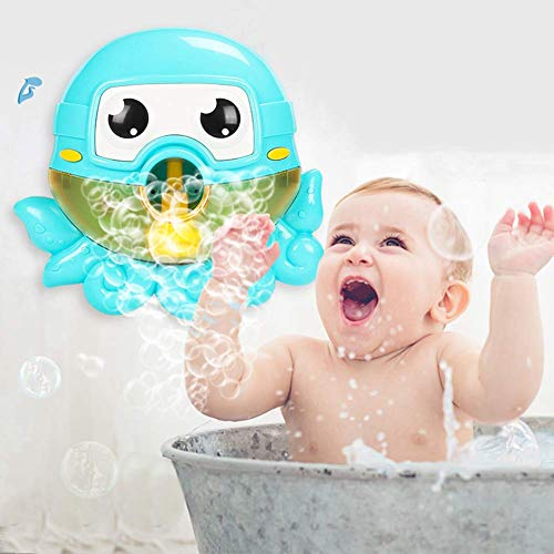 CONVLI Baby Bath Bubble Machine Automatic Bubble Blower Battery Operated Musical Octopus Bath Bubble Toys for Infant Baby Children Kids Happy Tub Time
