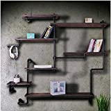YUEQISONG Bookshelf Furniture Solid Wood Display Stand Industrial Water Pipe Shelves W150H160