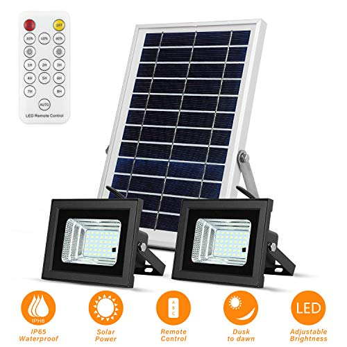 Solar Flood Lights Led Lights Remote Solar Lights Dusk to Dawn Solar Security Light with 6W 800 LM Dual 42 LEDs IP65 Waterproof Outdoor Solar Lights for Fence,Yard,Garden,Pool,Street,Lawn,Flag Pole -