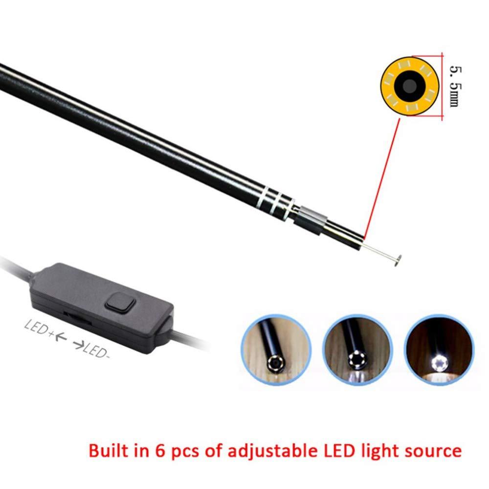 Festnight Ear Ear Ear Ear ottico di pulizia dellorecchio USB con mini strumento di pulizia spille orecchie fotocamera 6 LED regolabile 2 in 1 interfaccia USB multifunzione per Android