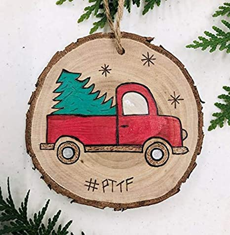 Amazon Com Pioneer Trails Tree Farm Red Truck With Tree Handmade Christmas Tree Ornaments Wood Burn Painted Kitchen Dining