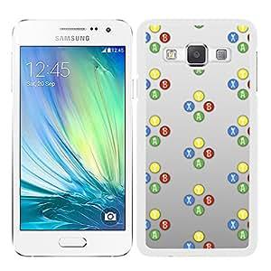 Funda carcasa para Samsung Galaxy A7 diseño símbolos consola 1 borde blanco