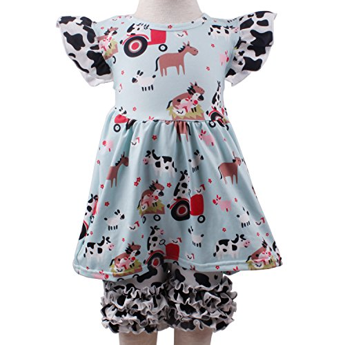 Toddler Baby Girl Summer Dress Pants Set Cow Animal Ruffles Outfit Set Boutique Clothing for Girls 12-18M -