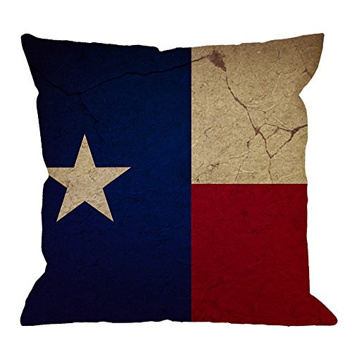 llow Case,Texas Flag Cotton Linen Cushion Cover Square Standard Home Decorative for Men/Women/Kids 18x18 inch Blue Red Yellow ()