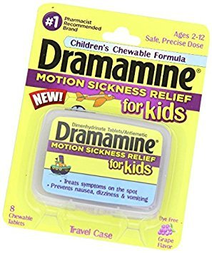 Dramamine Motion Sickness Relief for Kids, Grape Flavor, 8 Count (2 Pack) by Medtech Products Inc.