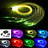 PREMIUM 16W Optic Fiber Light Waterfall Lamp Kit for House Decor and Sensory Room of Autistic Kid and Disable, Flash Point Fibre Optic Cable【450pcs*0.75mm*4m】+RGBW Light Engine+28Key RF Remote Control
