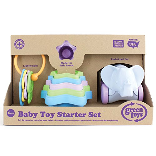 Recycled Starter Set - Green Toys Baby Toy Starter Set (First Keys, Stacking Cups, Elephant)