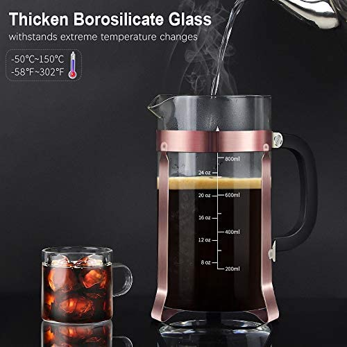 Upgraded French Press Coffee Maker Stainless Steel 34 oz Coffee Press with Stainless Steel Stand