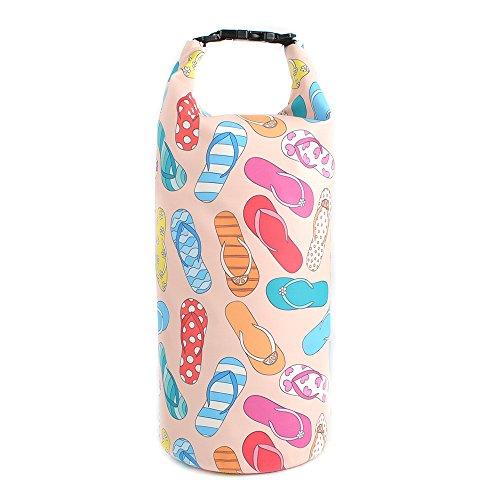 UrbanMover Waterproof Dry Bag Compression Roll Top Sack For Women Girls Flip-Flop Pattern Lightweight 10L Floating Kayaking Boating Rafting Diving Surfing Gym Yoga Swimming Hiking Fishing
