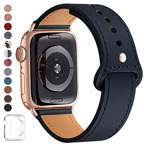 LOVLEOP Bands Compatible with Iwatch Band 38mm 40mm 44mm 42mm, Top Grain Leather Smart Watch Strap for iWatch Series 4 Series 3 Series 2 Series 1 (Jewelry Blue+Rose Gold Connector, 42mm 44mm)
