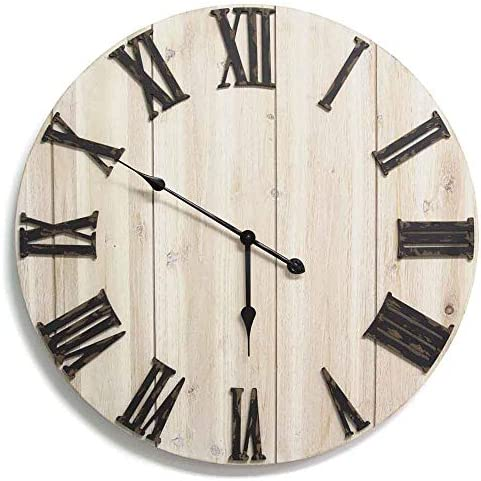 Stratton Home D cor S11574 Distressed White Wood Wall Clock, 28.00 W X 1.75 D X 28.00 H, Antique Bronze, whitewashed