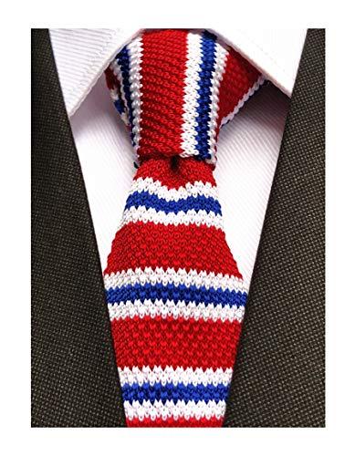 Men's Kids Junior Red Blue White Knitting Ties Designer Patterned Business Novelty Best Necktie for Independence Day
