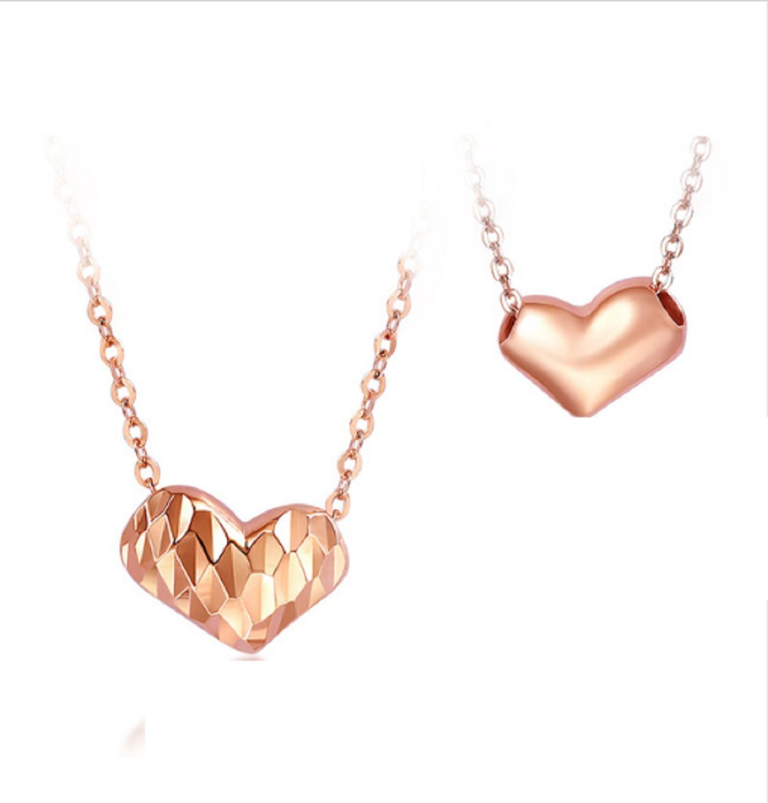 GOWE Luxury 18K Rose Gold Double Sides Hearts Shaped Women Necklace Pendants 18 Inches Lady