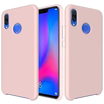CoverTpu Funda Huawei P Smart Plus Silicona, Rosa Funda Líquido de Silicona Gel TPU Flexible, Carcasa para Huawei P Smart Plus Anti-Rasguño y ...