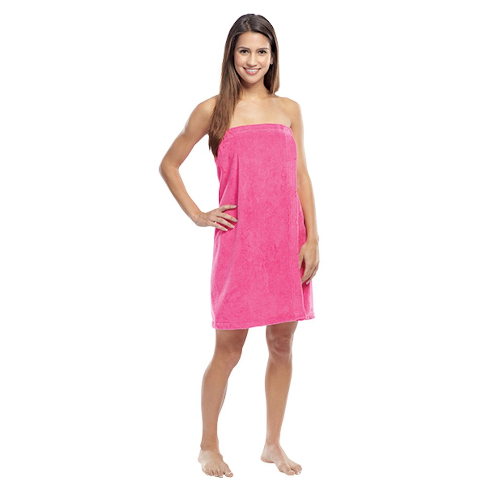 Luna Bianca Women's Terry Velour Cotton Super Absorbent Spa/Body Wrap (1 Wrap, Hot Pink) by Luna Bianca (Image #1)