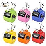 Hand Tally Counter, JUNE Pack of 6 Color Tally Counter Count Clicker 4 Digit Mechanical Palm Click Counter Assorted Color HandHeld Counter Clicker for Sport Stadium Coach Casino School and Other Event