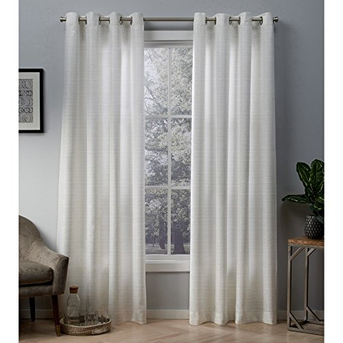 Exclusive Home Curtains Whitby Metallic Slub Yarn Textured Silk Look Window Curtain Panel Pair with Grommet Top, 54x108, Winter White, Gold, 2 Piece